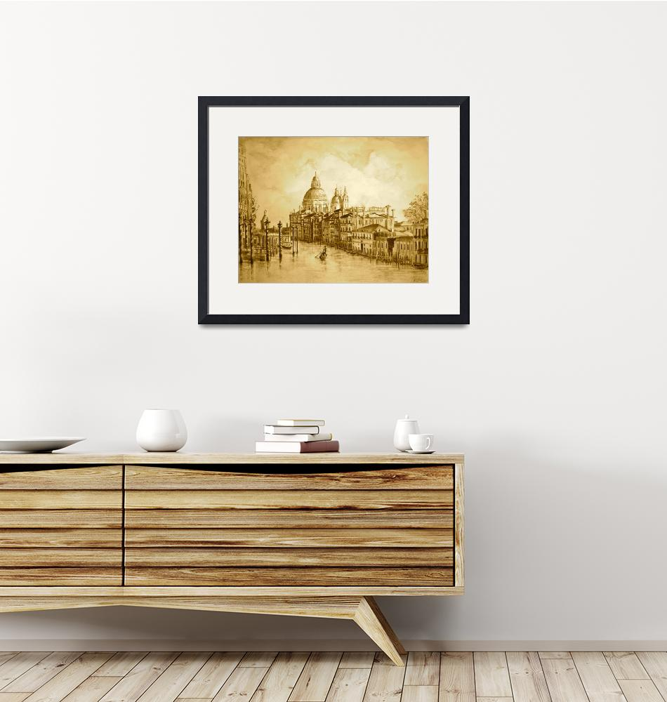 """Venice Grand Canal in Sepia""  (2012) by yvonneayoub"