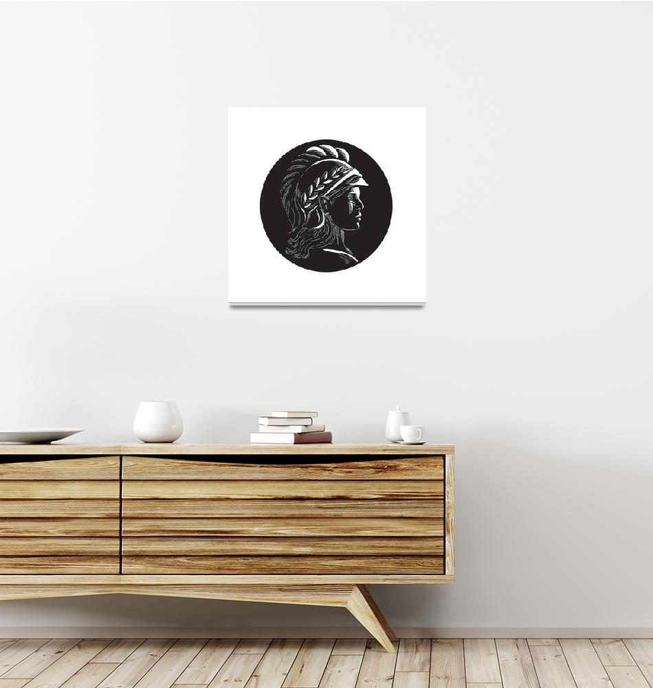 """Minerva Head Side Profile Oval Woodcut""  (2017) by patrimonio"