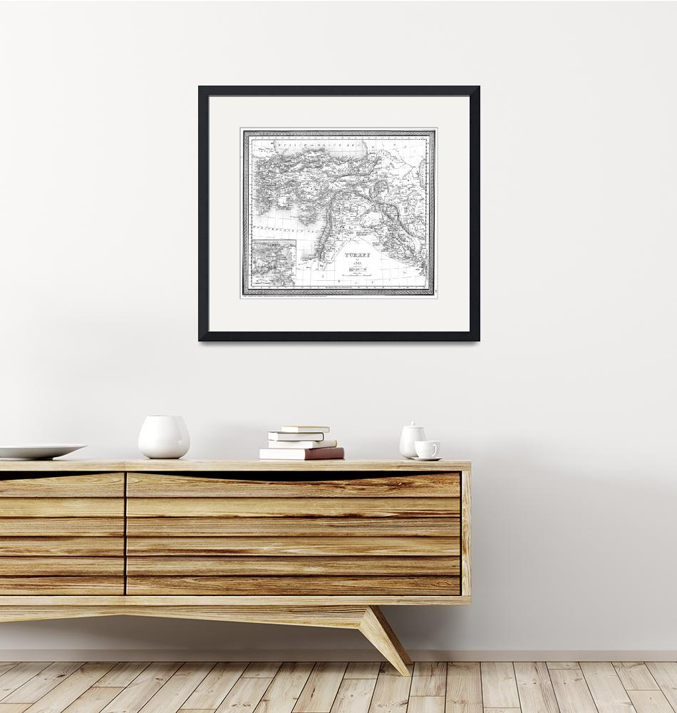 """""""Vintage Map of Turkey (1850) BW""""  by Alleycatshirts"""