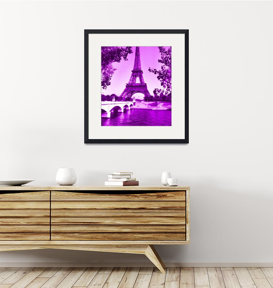 """""""Eiffel Tower Seine River Violet cropped"""" (2013) by TheNorthernTerritory"""