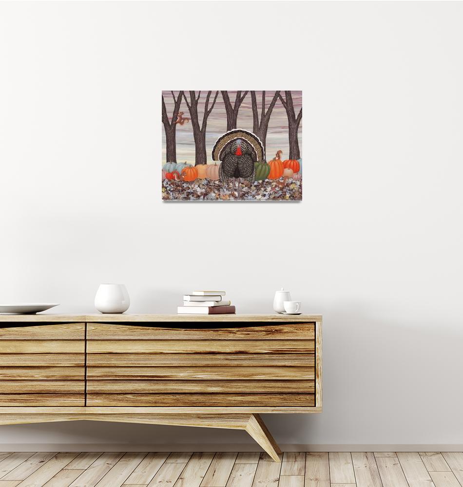 """""""wild turkey, squirrels, and heirloom pumpkins""""  (2016) by sarahkdesigns"""