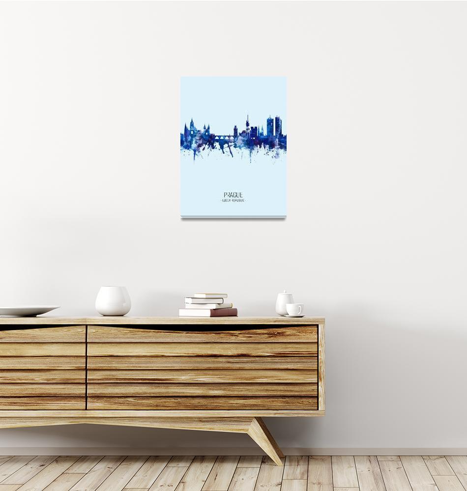 """""""Prague (Praha) Czech Republic Skyline""""  (2019) by ModernArtPrints"""