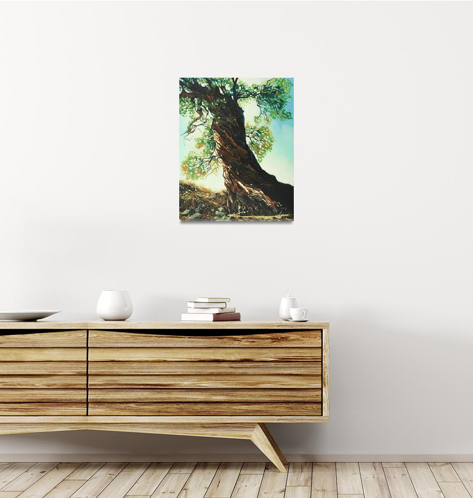 """""""Original oil painting big tree""""  (2019) by yuezeng"""