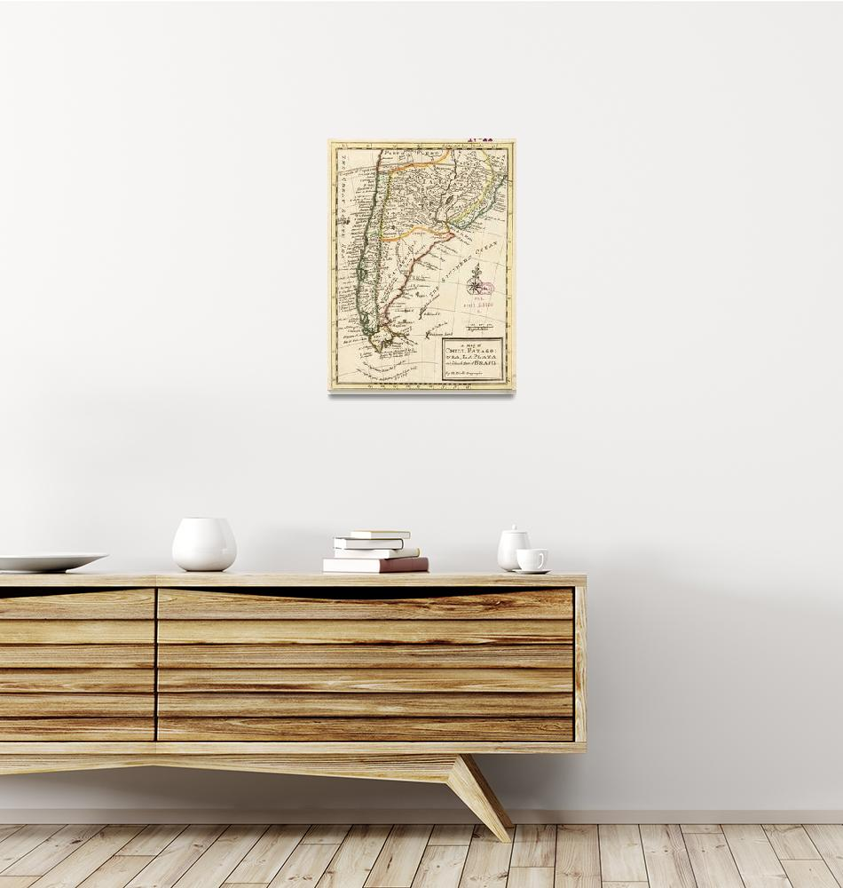 """""""Vintage Map of Chile and Argentina (1732)""""  by Alleycatshirts"""