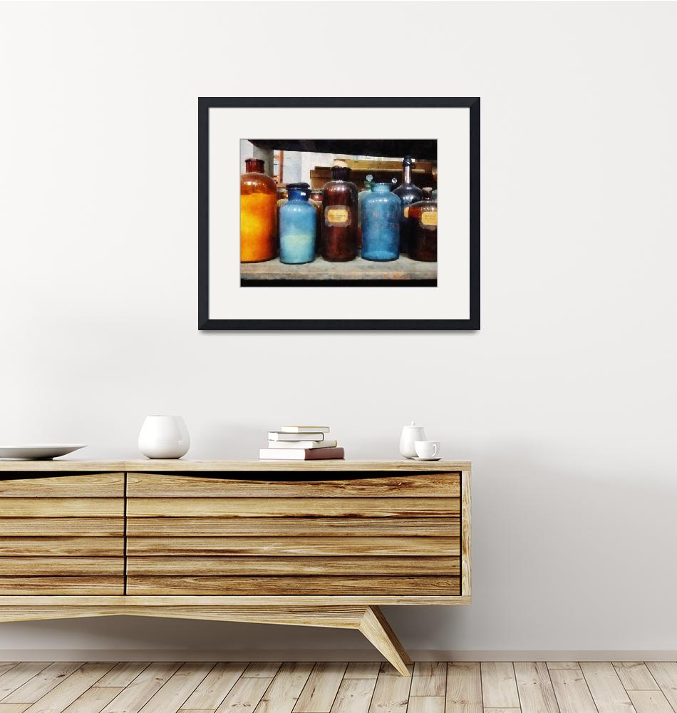 """""""Orange, Brown and Blue Bottles of Chemicals""""  by susansartgallery"""