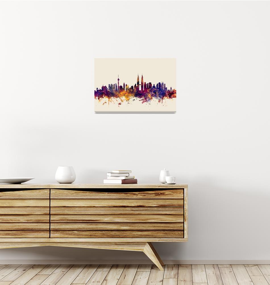 """""""Kuala Lumpur Malaysia Skyline""""  (2015) by ModernArtPrints"""