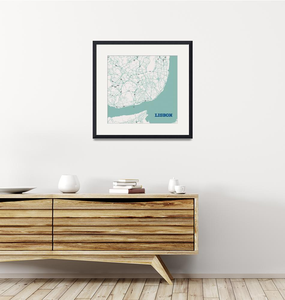 """""""Minimalist Artistic Map of Lisbon, Portugal 3a""""  by motionage"""