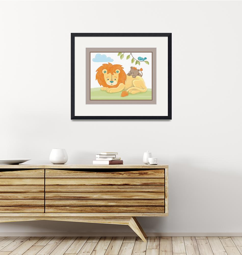 """""""Giraffe Safari Collection - Lion and Cub"""" (2019) by Littlepig"""