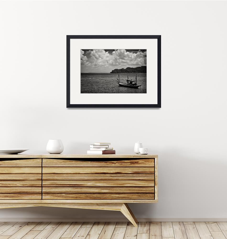 """""""Monochrome Boat - Thailand""""  (2011) by CanvasofLight"""