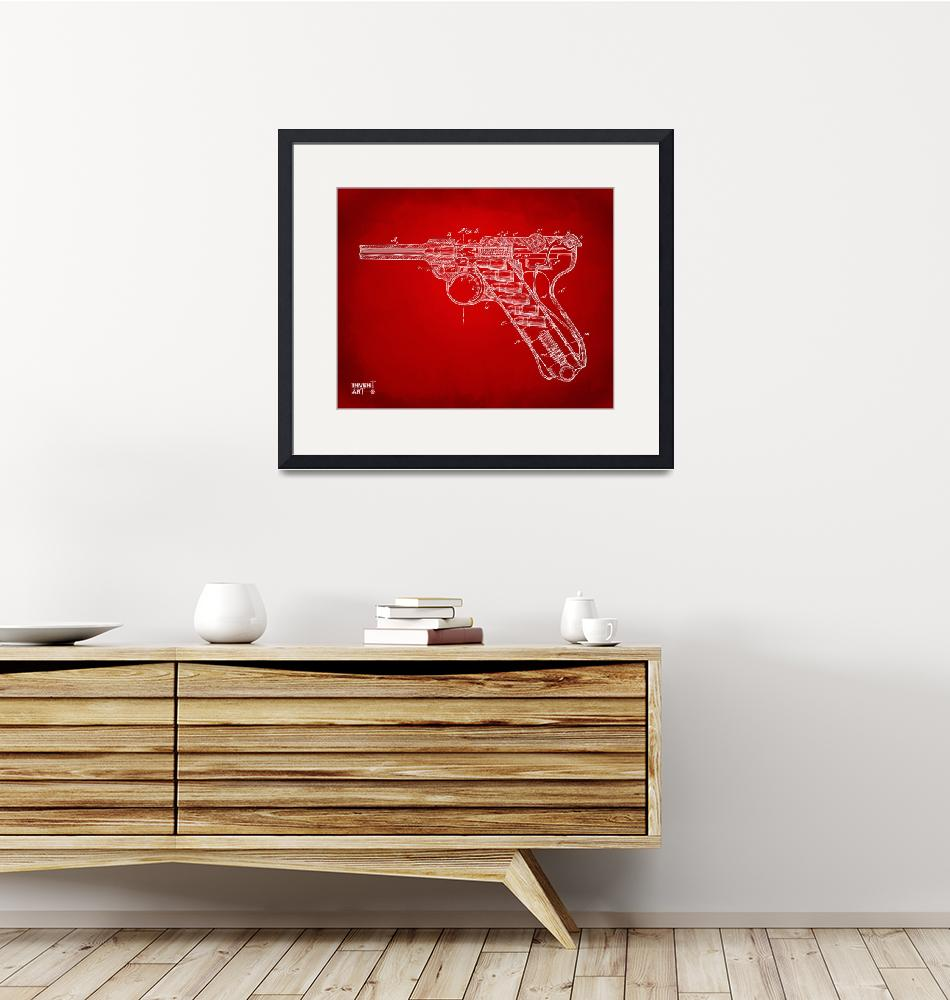 """1904LugerRecoilLoadingSmallArmsPatentMinimal_Red4x""  by nikkismith"