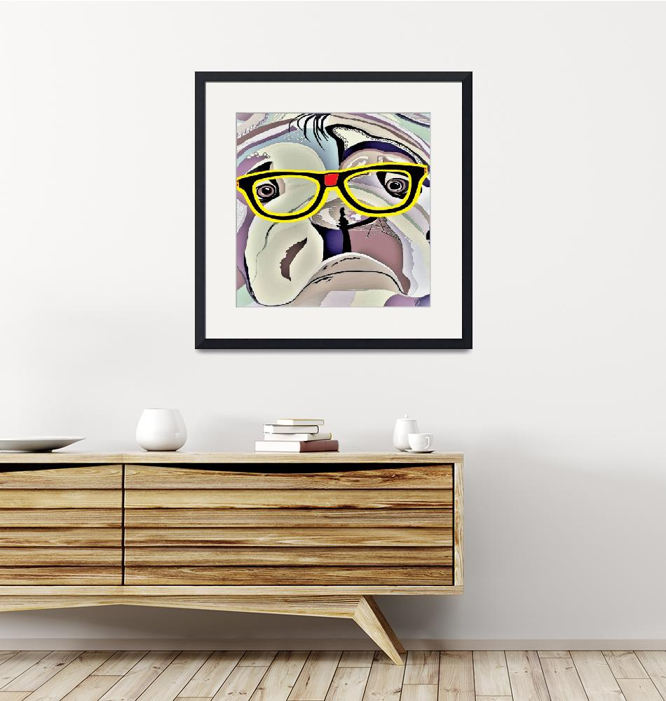 """Bulldog withGlasses""  by EloiseArt"