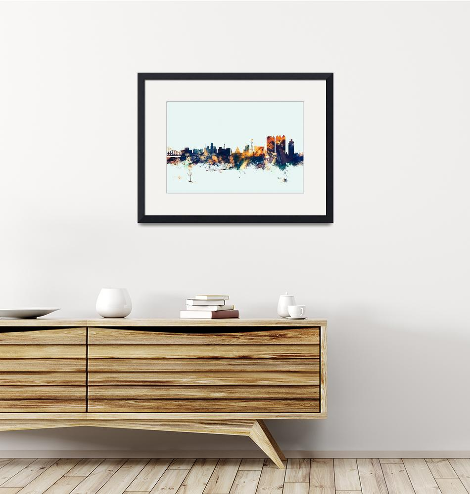 """Calcutta Kolkata India Skyline""  (2015) by ModernArtPrints"