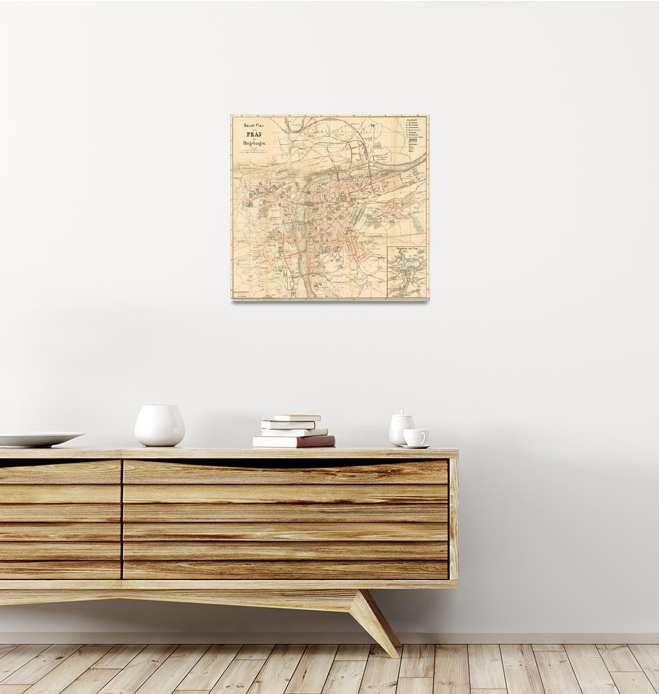 """Vintage Map of Prague (1882)""  by Alleycatshirts"