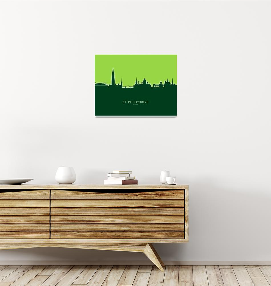 """St Petersburg Russia Skyline""  (2020) by ModernArtPrints"