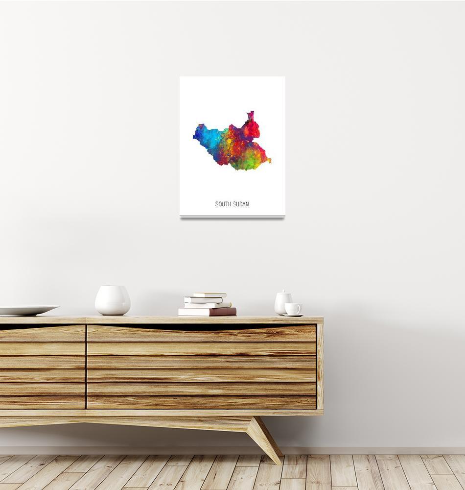 """South Sudan Watercolor Map""  (2019) by ModernArtPrints"