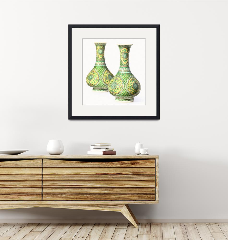 """""""Yellow and Green Chinese Chinoiserie Pottery Vase""""  by motionage"""