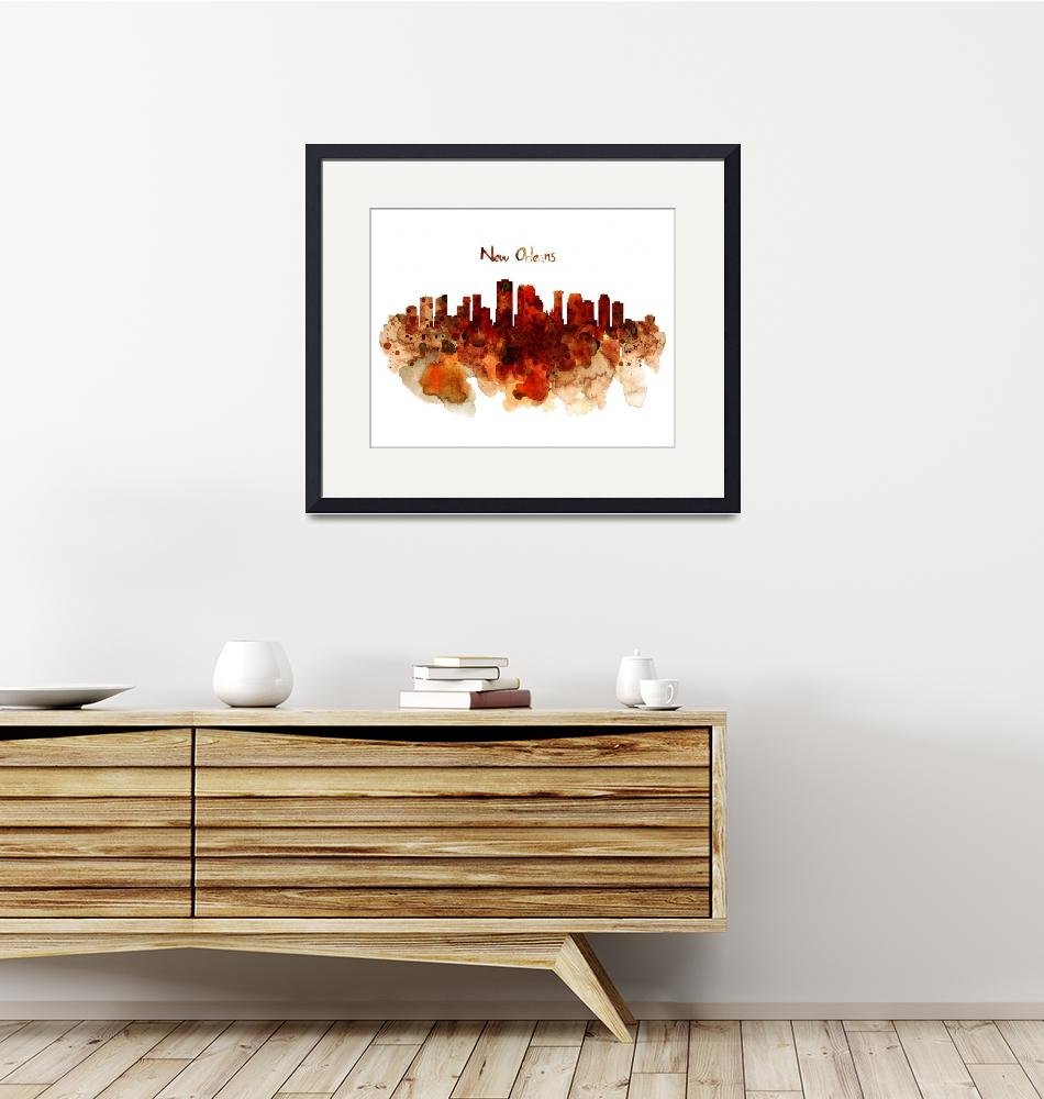 """""""New Orleans Watercolor Skyline""""  (2015) by MarianVoicu"""