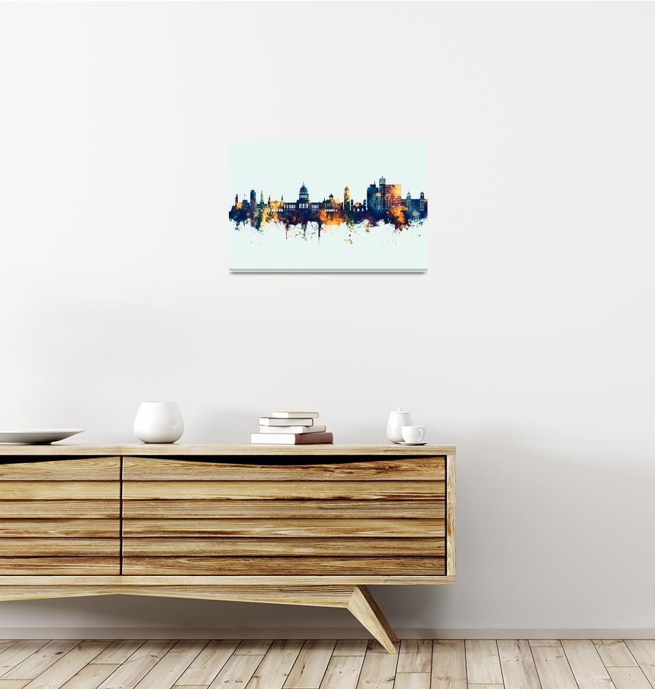 """Havana Cuba Skyline""  (2019) by ModernArtPrints"