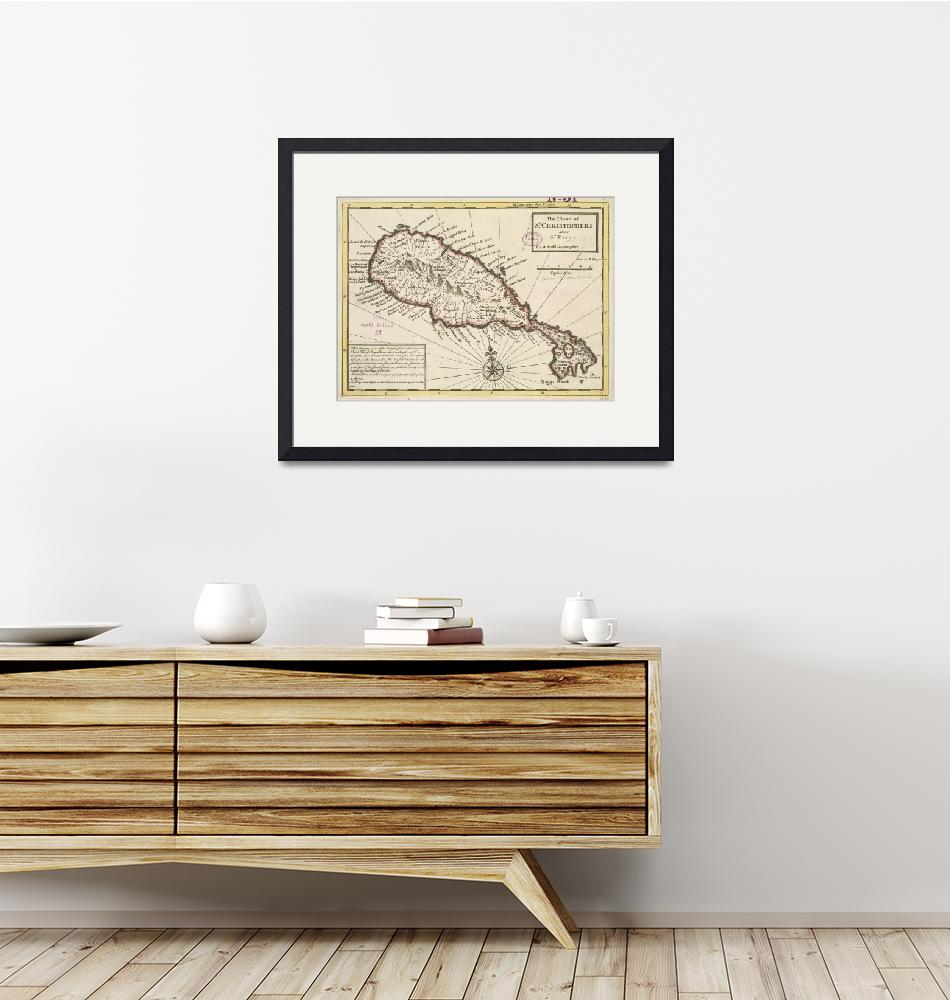 """""""Vintage Map of Saint Kitts (1732)""""  by Alleycatshirts"""