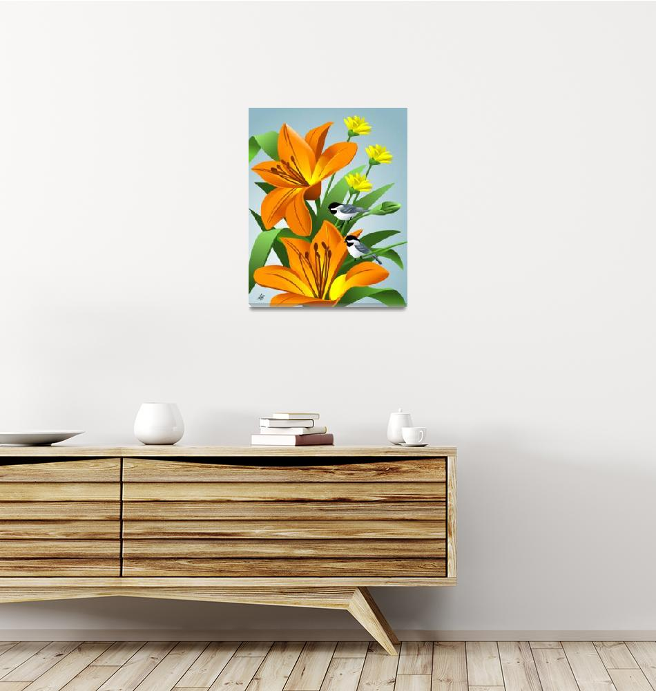 """""""Chickadees Among Lilies Art""""  by waterart"""