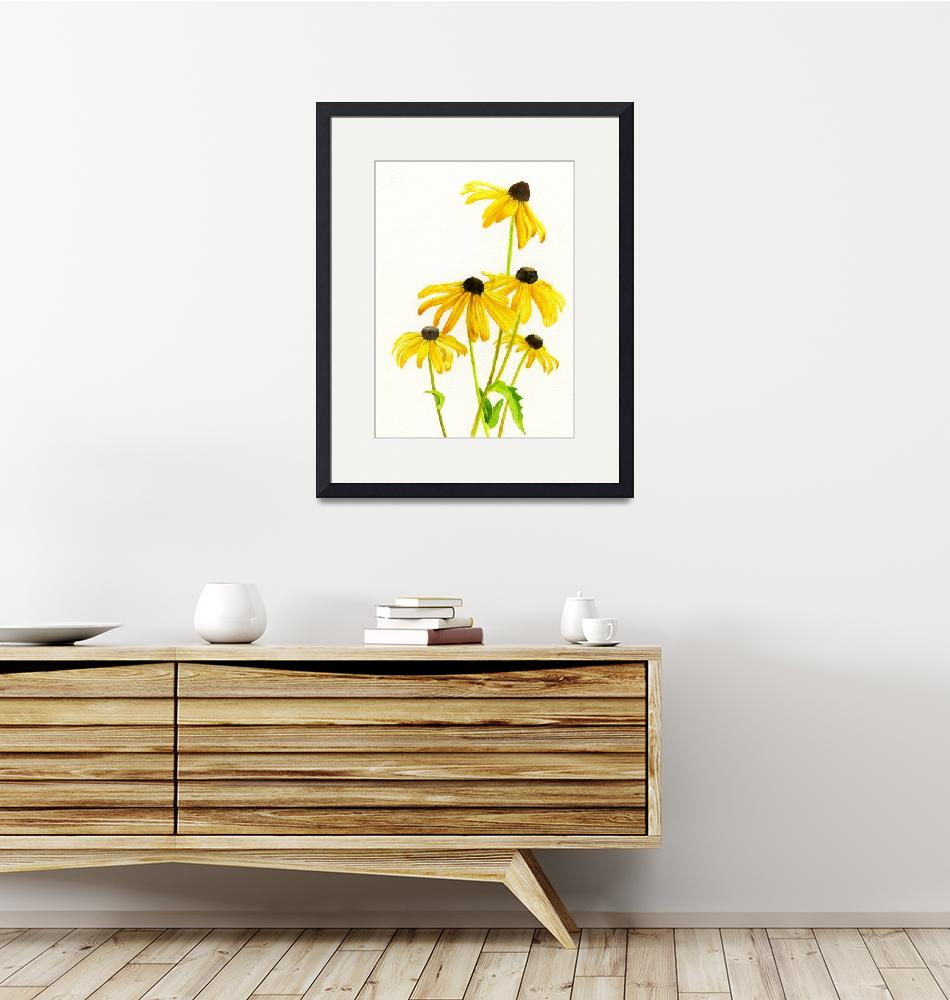 """yellow black eyed susans clnd jan 2016-1"" by Pacific-NW-Watercolors"