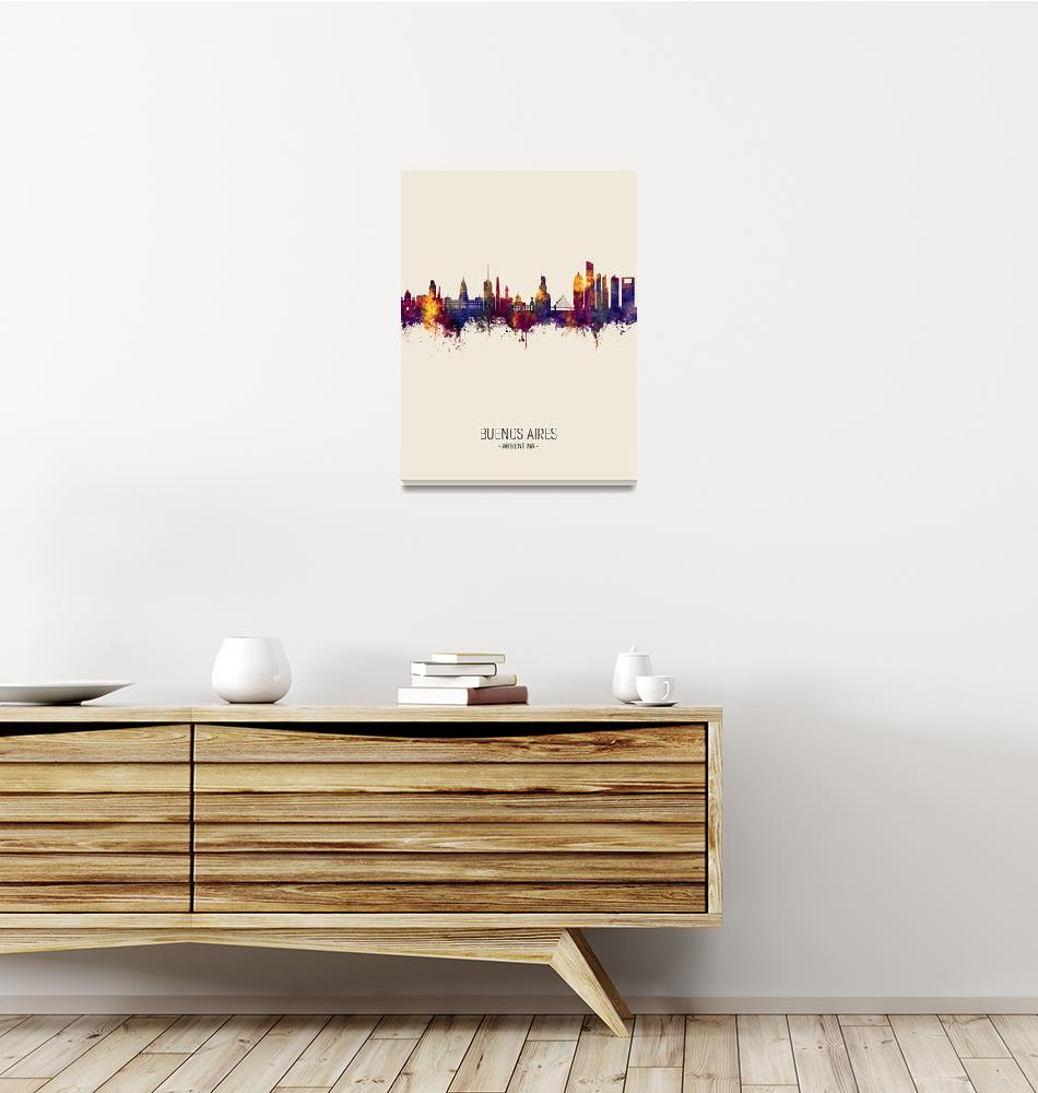 """Buenos Aires Argentina Skyline""  (2019) by ModernArtPrints"