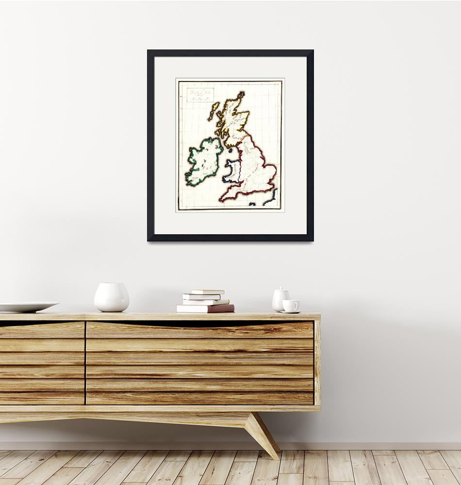 """""""Vintage Map of The British Isles (1860)""""  by Alleycatshirts"""