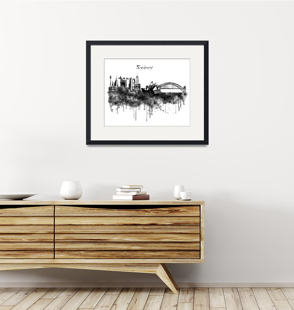 """""""Sydney Black and White Watercolor Skyline"""" (2019) by MarianVoicu"""