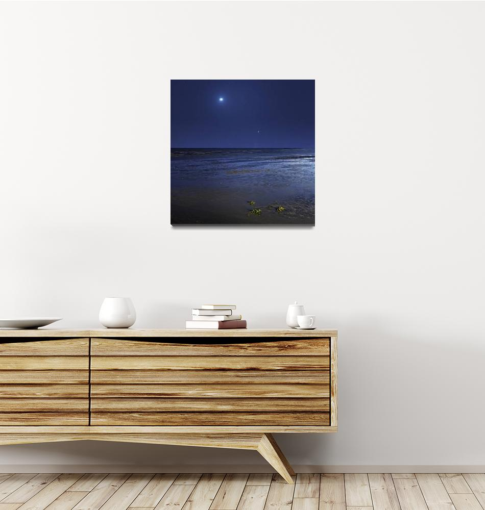 """Venus shines brightly below the crescent Moon from""  by stocktrekimages"
