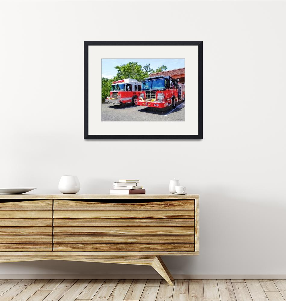 """""""Two Fire Engines in Front of Firehouse""""  by susansartgallery"""