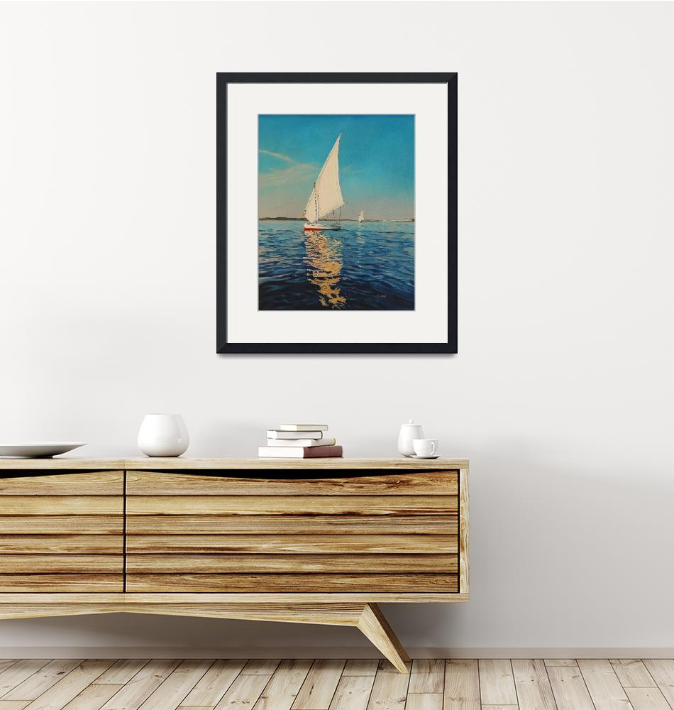 """""""Original oil painting sail boat""""  (2019) by yuezeng"""