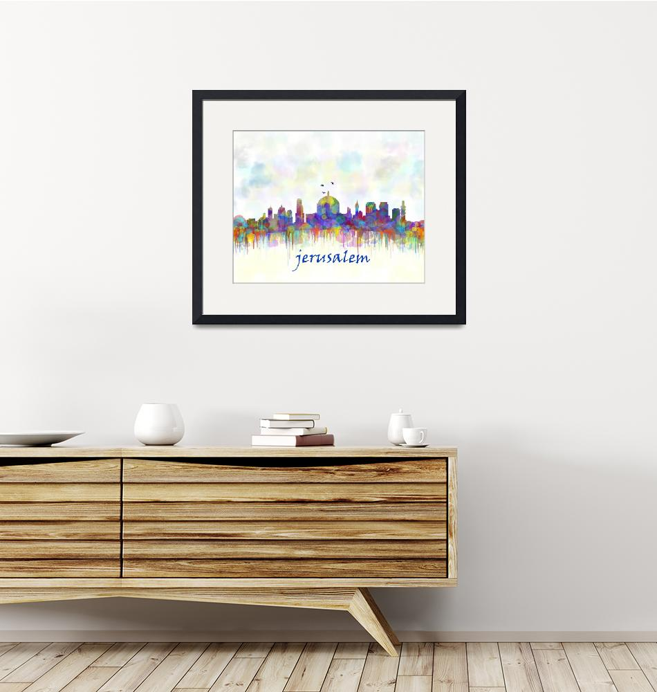 """jerusalem city skyline watercolor""  (2016) by maryedenoa"