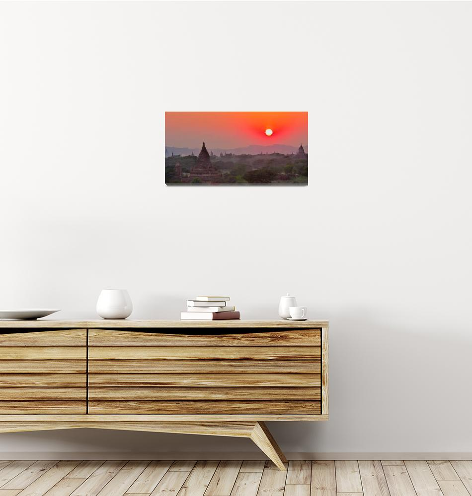 """""""Sunset Over Bagan Temples #2""""  (2012) by mjphoto-graphics"""