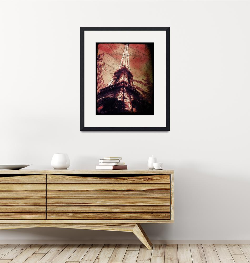 """""""Eiffel Tower,Tinted Red and Distressed""""  by Linde"""