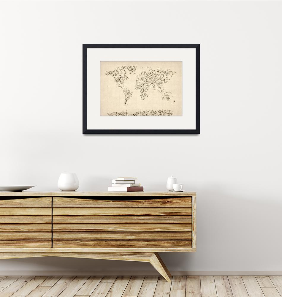 """Music Notes Map of the World Map""  (2012) by ModernArtPrints"