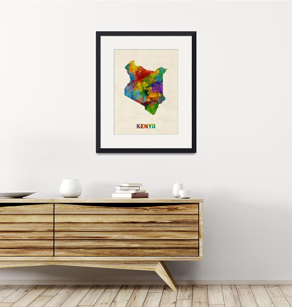 """Kenya Watercolor Map""  (2017) by ModernArtPrints"