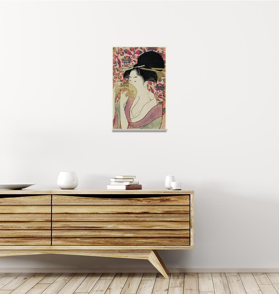 """Woman Holding a Comb by Utamaro Kitagawa""  by FineArtClassics"
