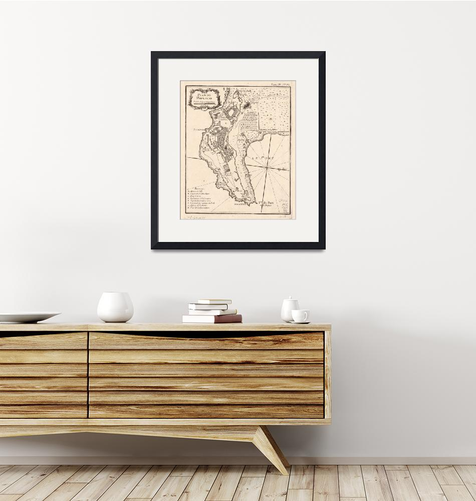 """""""Vintage Map of Monaco France (1764)""""  by Alleycatshirts"""