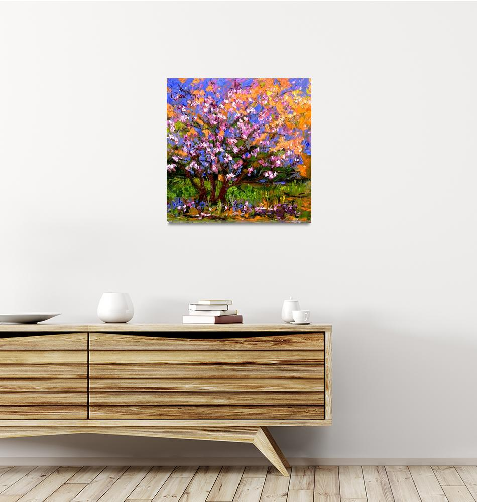 """""""Pink BlossomTree Oil Painting"""" (2005) by GinetteCallaway"""