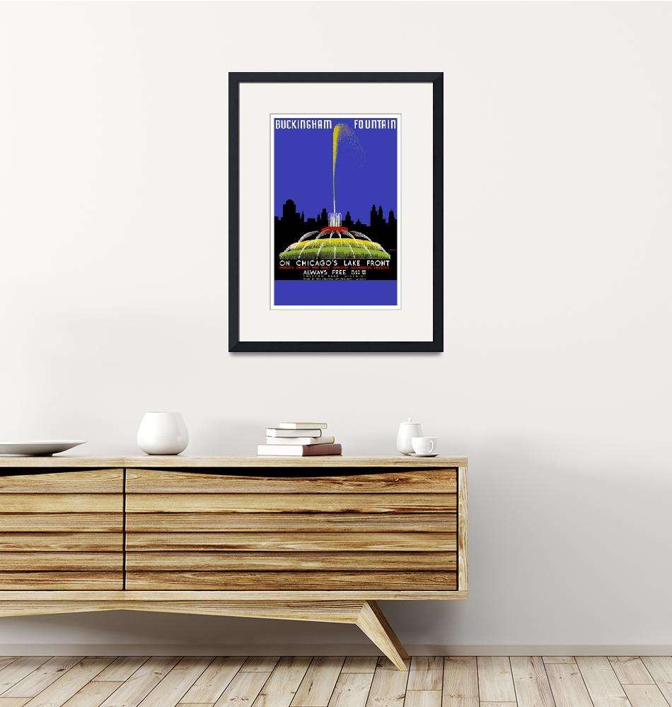 """""""Chicago Fountain Travel Poster""""  by ArtistiquePrints"""