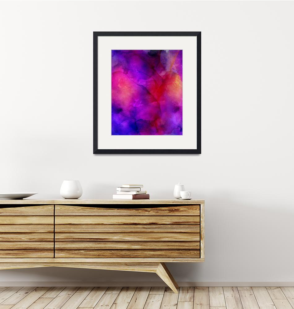 """""""Purple, Blue, Red And Pink Fluid Ink Abstract Art""""  by fineartgallery"""