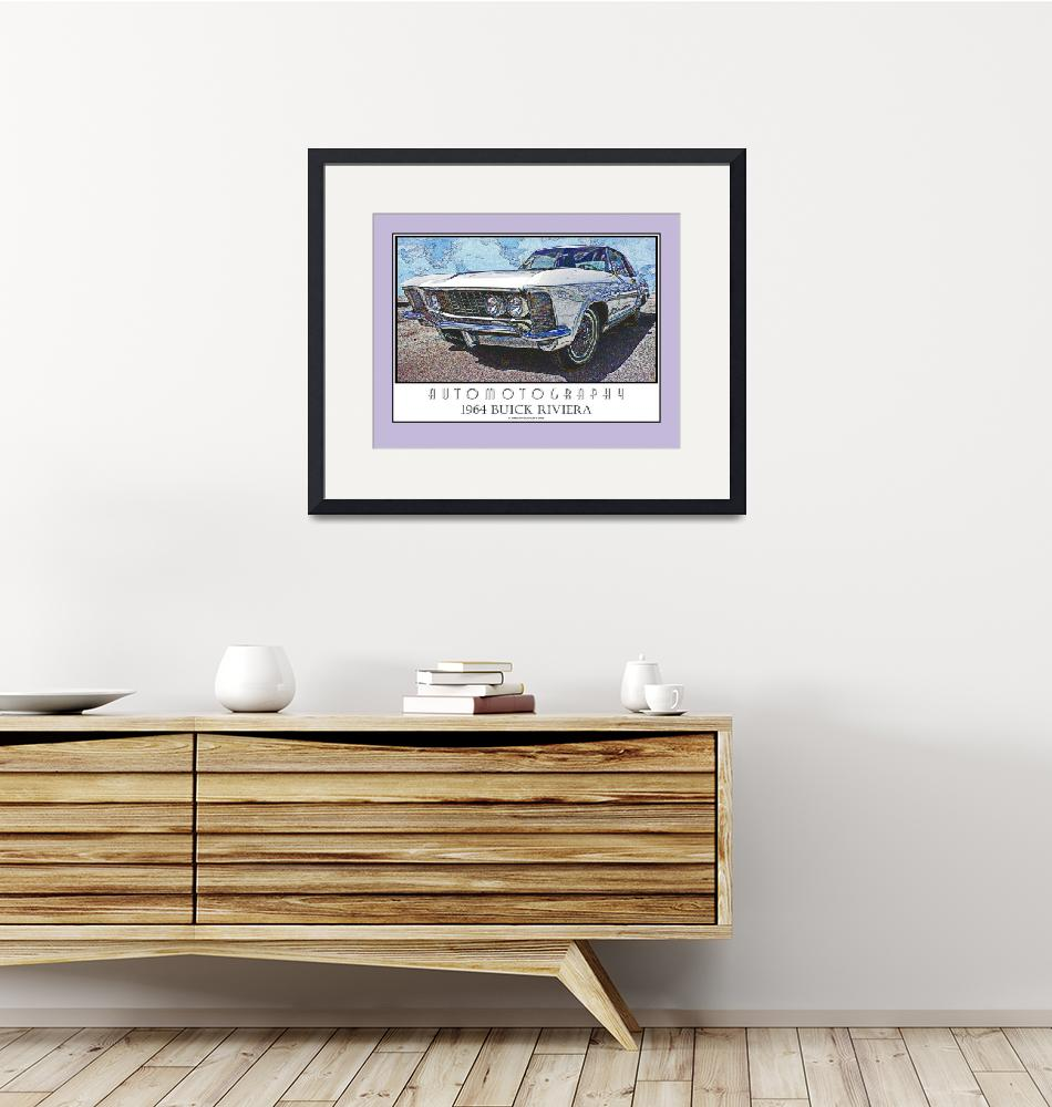 """""""1964 Buick Riviera Poster - Lavender Border""""  (2008) by Automotography"""