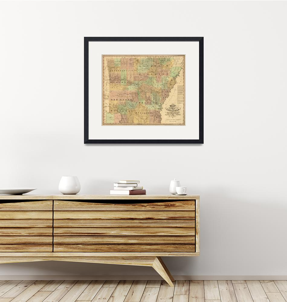 """""""Vintage Map of Arkansas (1839)"""" by Alleycatshirts"""
