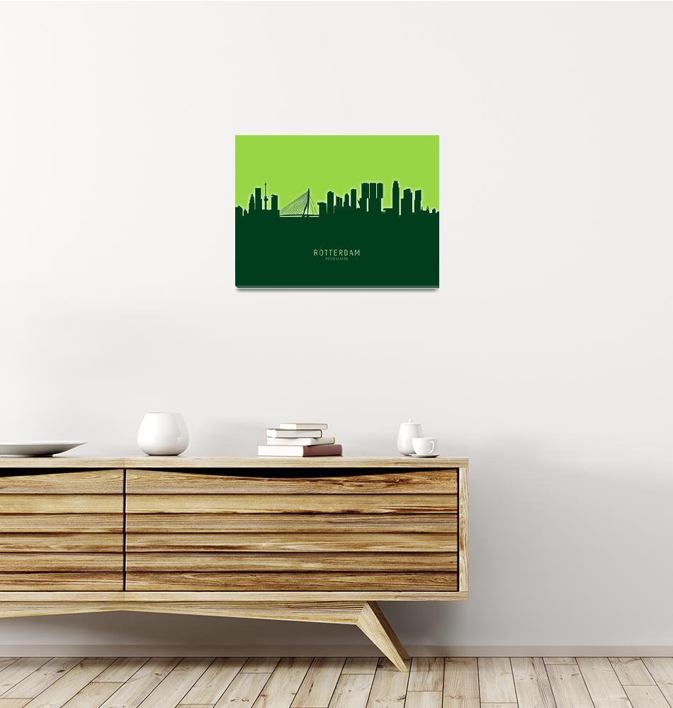 """Rotterdam The Netherlands Skyline""  (2020) by ModernArtPrints"