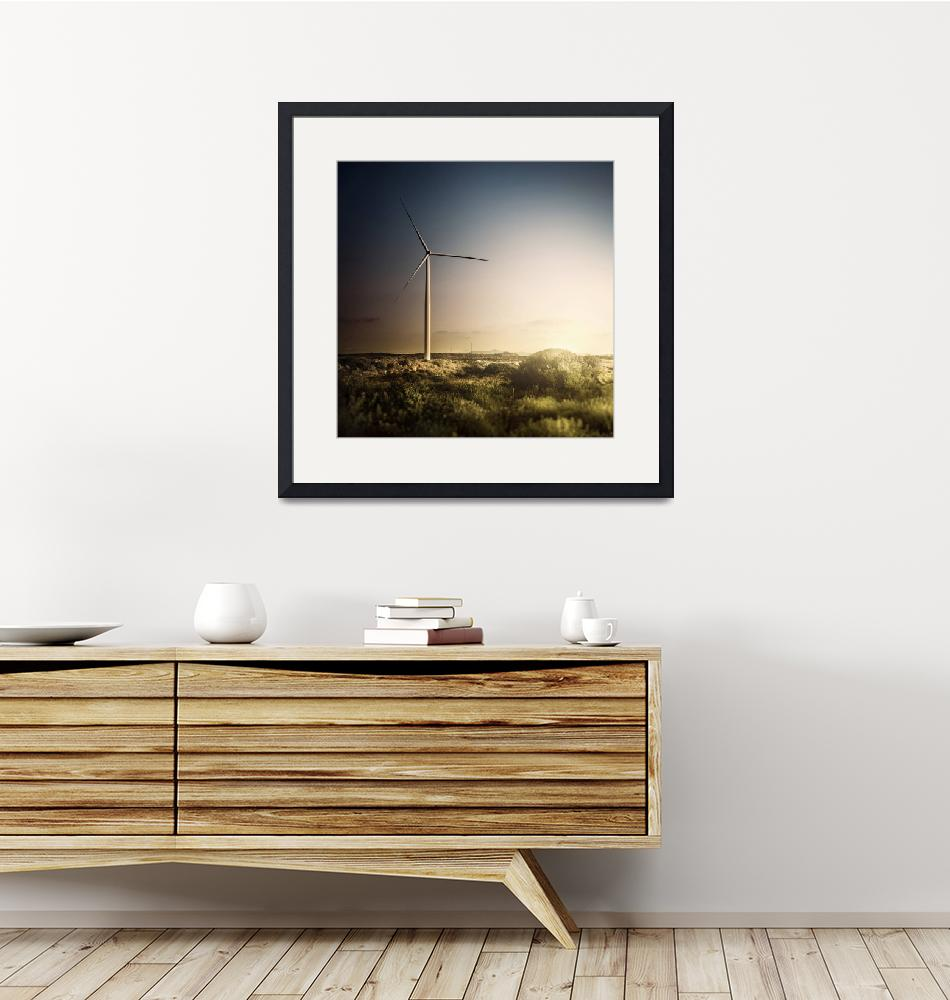 """""""Wind turbine in a field in the evening, Sardinia,""""  by stocktrekimages"""