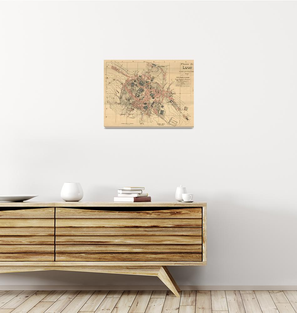 """Vintage Map of Lugo Spain (1915)""  by Alleycatshirts"