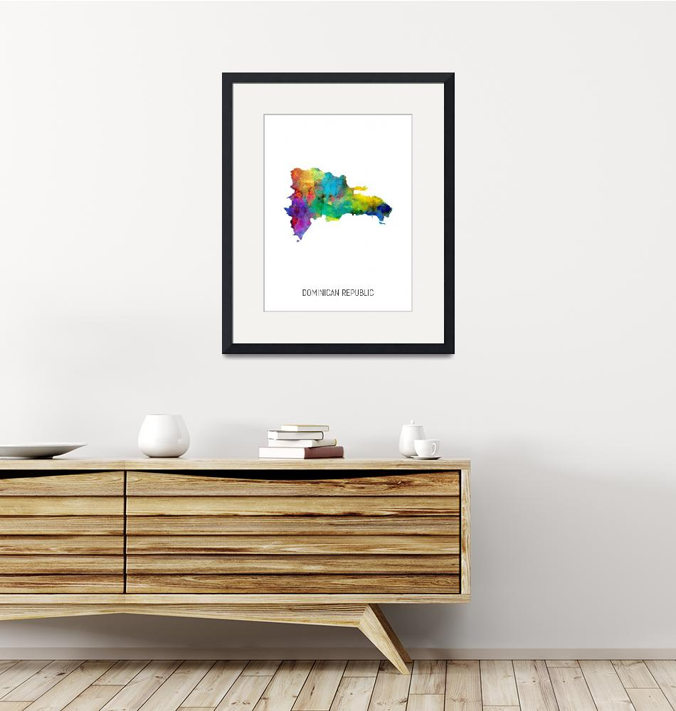 """Dominican Republic Watercolor Map""  (2019) by ModernArtPrints"