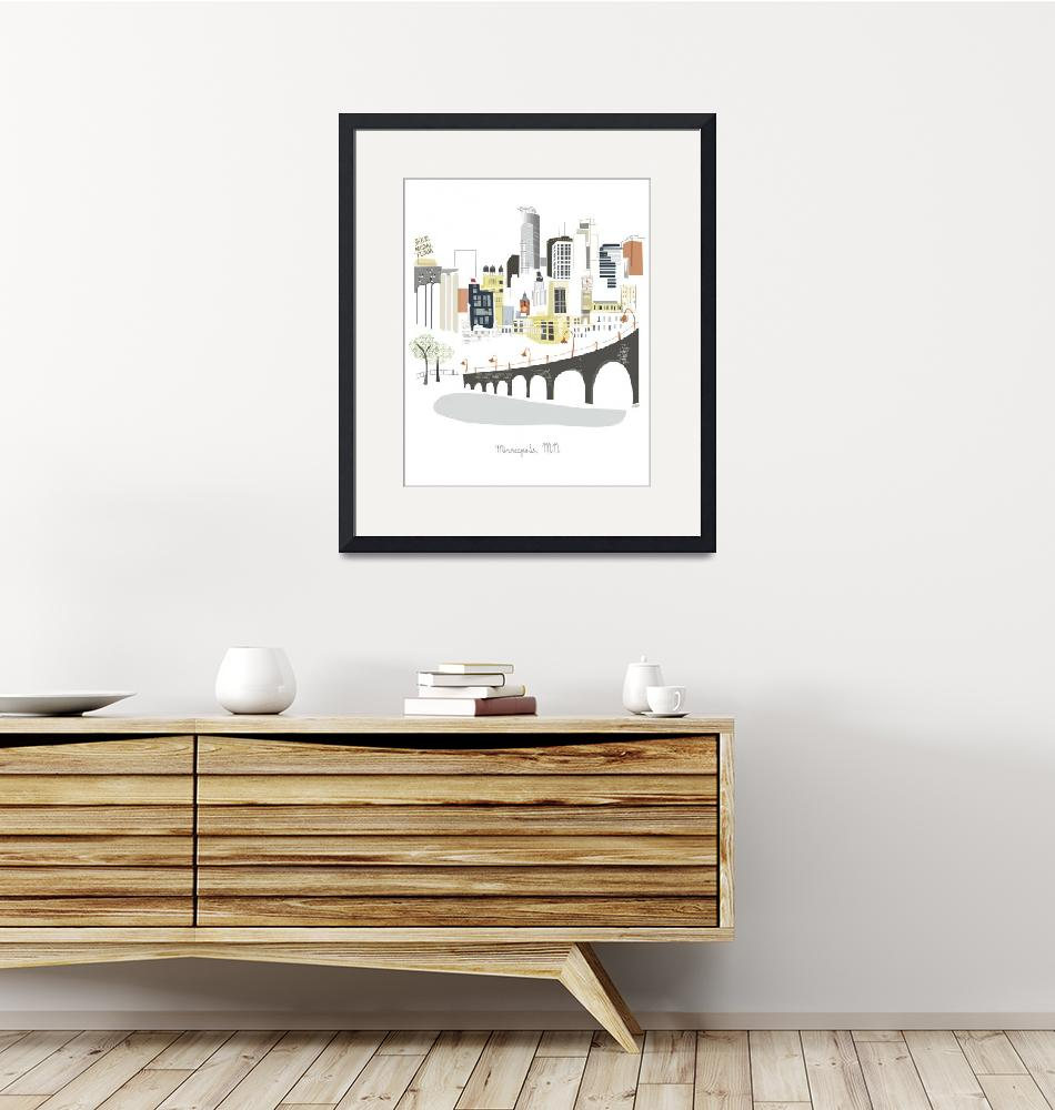 """Minneapolis Modern Cityscape Illustration""  by AlbieDesigns"