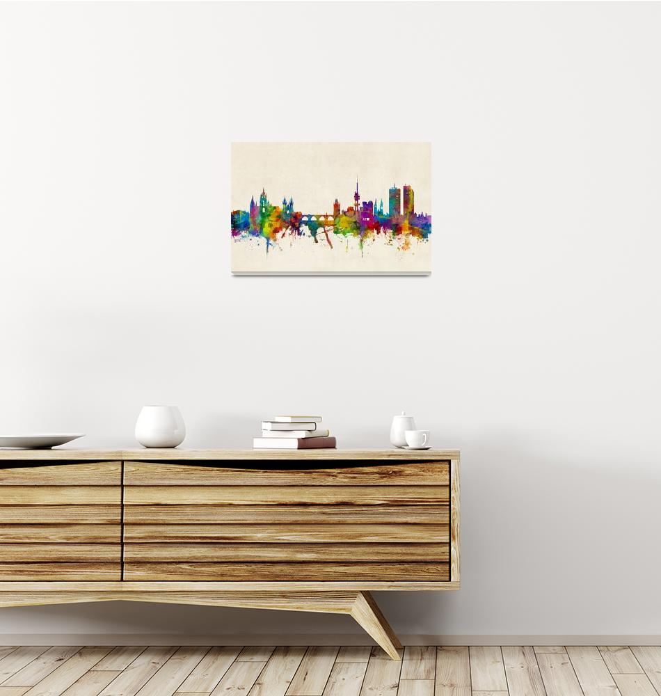 """Prague (Praha) Czech Republic Skyline""  (2016) by ModernArtPrints"