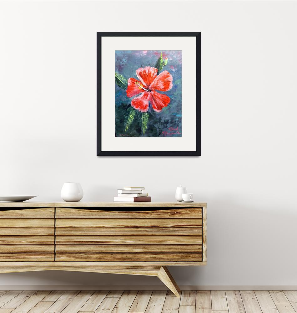 """""""Red Hibiscus Flower Painting""""  (2013) by mazz"""